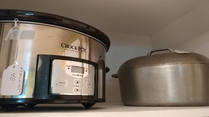 Crock pot & vintage iron roaster