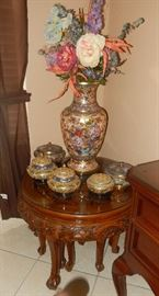 Asian vase, cloisonne, Asian table with stools.
