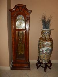 Heritage Grandfather Clock, Large Asian Vase