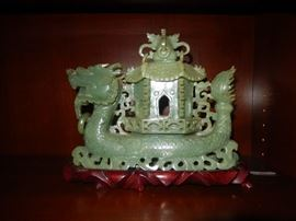 Carved Jade Dragon with Pagoda