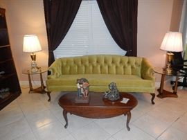Hollywood Regency Style Sofa & End Tables