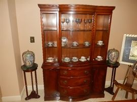 Antique China Cabinet, Marble Top Pedestals, Asian Jars