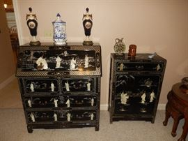 Asian Drop Front Desk and Chest with Mother of Pearl Design