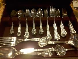 56 total pieces of Chantilly Sterling by Gorham. 12 place settings plus serving pieces.