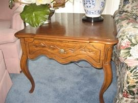 One of Two Drexel End Table, Matching Lamps...