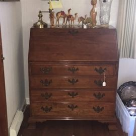 Cherry Chippendale Style Drop Front Desk