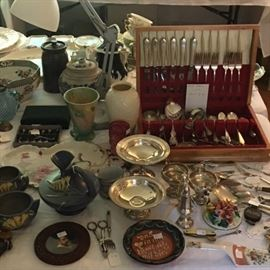 Roseville Pottery, Sterling and Silverplate Flatware and Objects