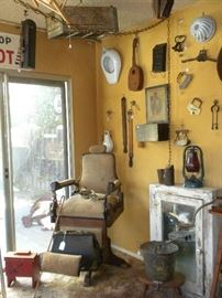 ANTIQUE COLUMBIA  BARBER CHAIR &  PRIMITIVES