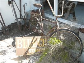 VINTAGE SCHWIN BICYCLE AND BLUE CHIP METAL SIGN