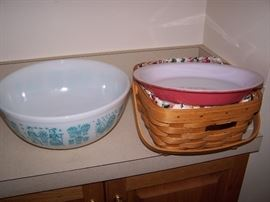 Vintage Pink Flamingo Pyrex and Longaberger Baskets