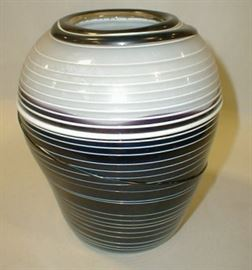 Art glass vase with applied ribbing