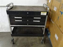 Black Tool Cart On Casters with 4 Drawers and Bott ...