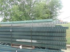 "(14) pallet rack uprights- 10 ft tall x 42"" wide"