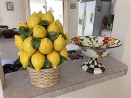 McKenzie-Childs compote & ceramic lemons