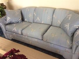 Flexsteel sofas (2) identical soft blue and tan