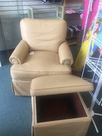 Custom Leather Chair and Ottoman $225