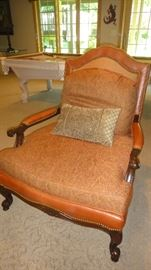 Matching Leather and upholstered arm chairs