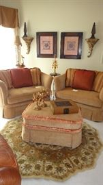 Chair 1/2, matching set with ottoman, Rug not available
