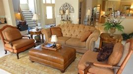Matching Chairs, Large ottoman, Sofa, end tables, lamps