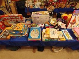 Board games, vintage toys, childrens books, barbie dolls.
