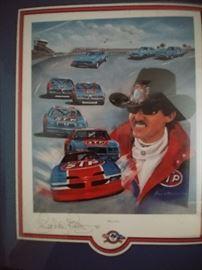 Signed memorabilia  -- Richard Petty racing lithograph.