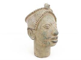 Antique Yoruba Wunmonije Benin Ile-Ife Lost Wax Bronze Bust