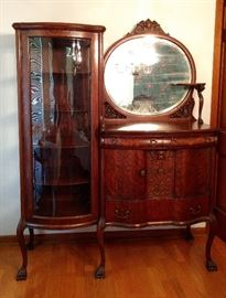 Tiger OAK Victorian Curio Cabinet Buffet Server Side by Side with Mirror. Exquisite!