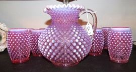 Antique Fenton Cranberry Opalescent Hobnail Water Pitcher with 11 matching glasses