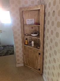 REALLY NEAT SHABBY CHIC CORNER CUPBOARD