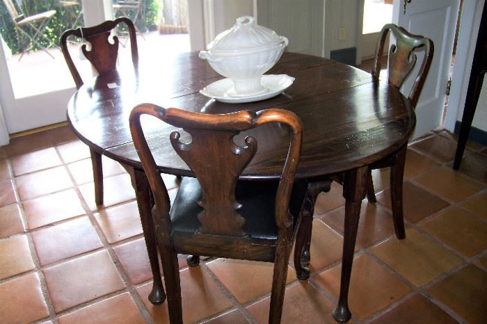 Queen Anne table, chairs