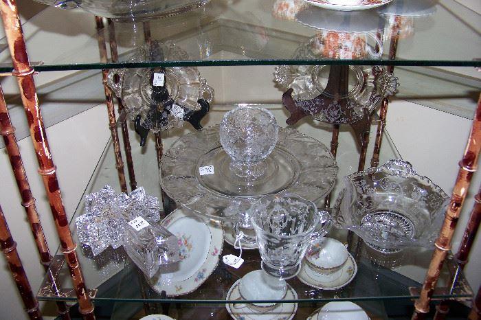 Etched crystal bowls, etc.