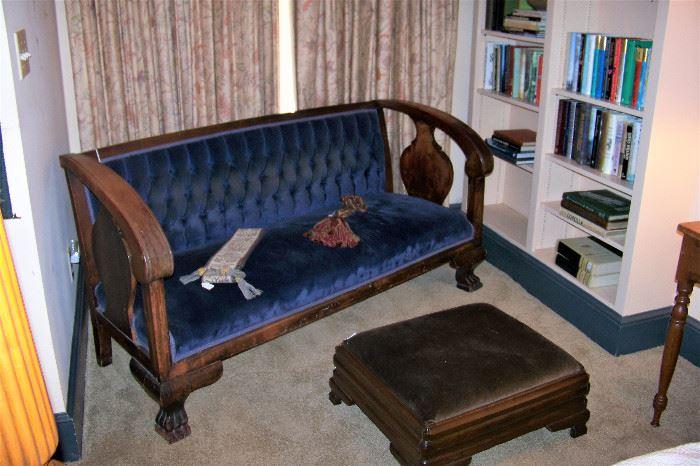 Empire sofa, foot stool, early