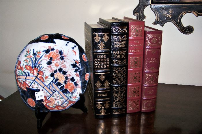 Imari plate, leather books