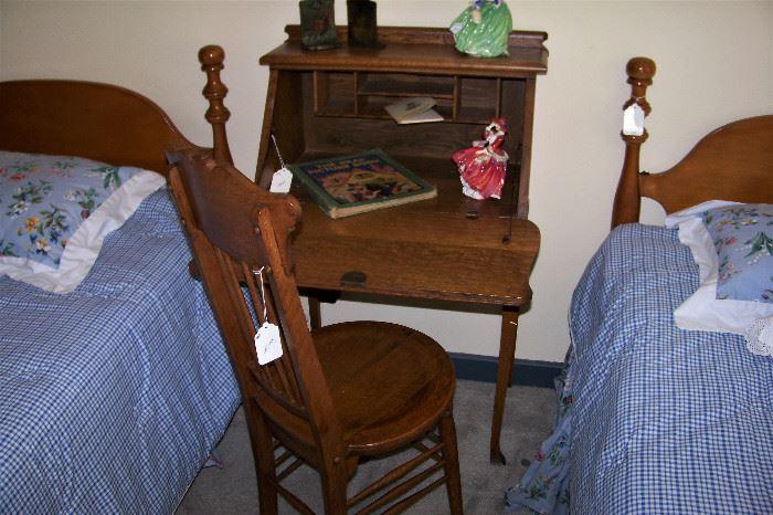 Antique oak desk, chair