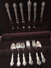 Set of Strasbourg sterling - service for 6 - including knifes, dinner forks, salad forks and teaspoons
