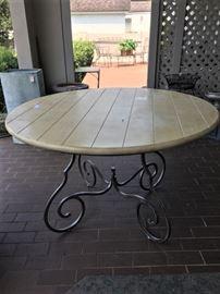 Wonderful table, pickled oak top, metal base