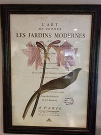 Stamped and Signed from the New York Botanical Gardens Library,  A Large Framed French Floral