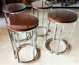 Chrome and Wood Glass Top Tables