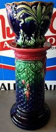 Vintage Majolica Jardinere with Pedestal (Has been repaired)