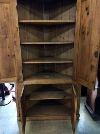 Primitive Pine Corner Cupboard