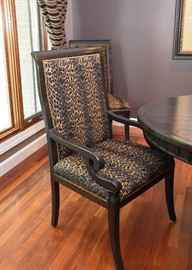 BUY IT NOW! $1,200 - Set of 6 Leopard Print Dining Chairs (2 Armchairs & 4 Side Chairs, Nailhead Trim)