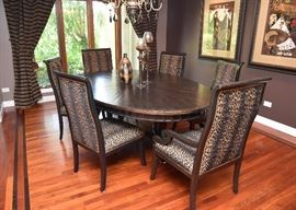Merchandise Mart Dining Table & Leopard Print Dining Chairs