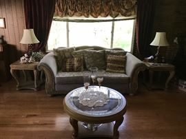 Neutral colors Sofa with matching chaise - coffee table set matches
