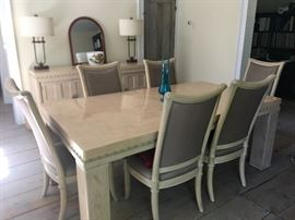 GORGEOUS Henredon Dining Room Set.  Includes 2 Captains chairs, 6 other chairs, buffet and table (has 2 more leaves).  $750.00