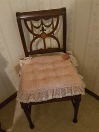 Chair with lace cushion