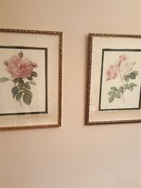 More framed floral art.
