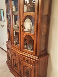 China cabinet with matching dining room table and chairs.  Antique dishes, etc. inside. Noritake Magnificence pattern - entire set.