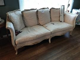 Beautiful down filled ornate sofa trimmed in gold