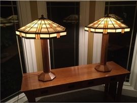 Stickley Mission Stained Glass Lamps
