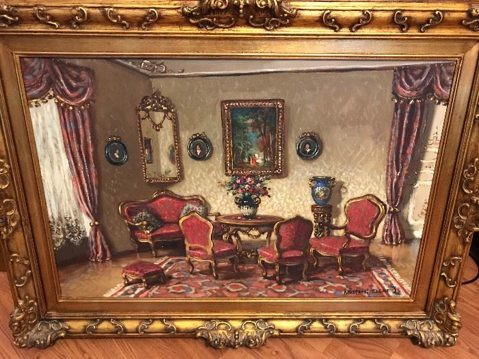 Large Oil on Canvas by Apatfalvi Czene Janos. He was very famous for these Interior scenes.